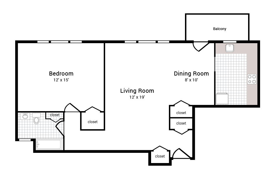 429 Apartments 1 Bed 1 Bath Floor Plan