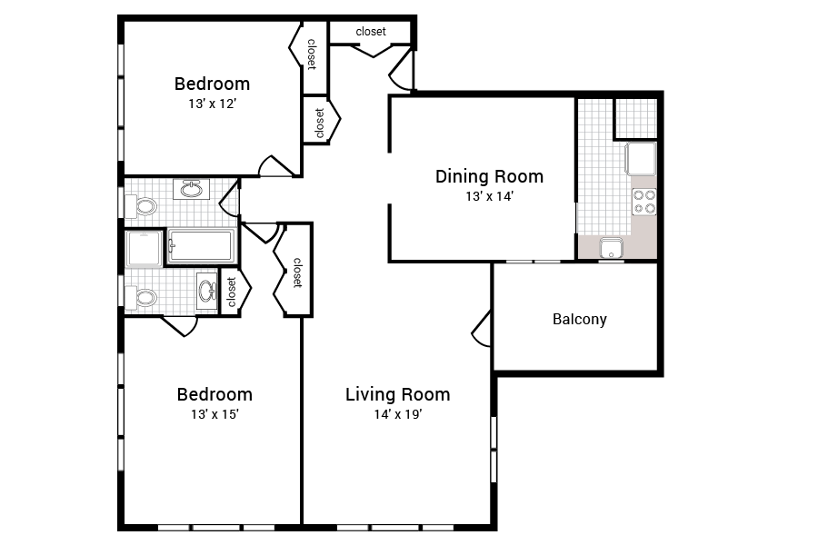 429 Apartments 2 Bed 2 Bath Floor Plan